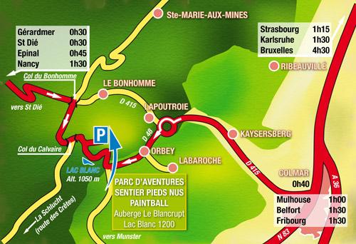 Carte Lacs Alsace.Lac Blanc Parc D Aventures Orbey Alsace France Plan D